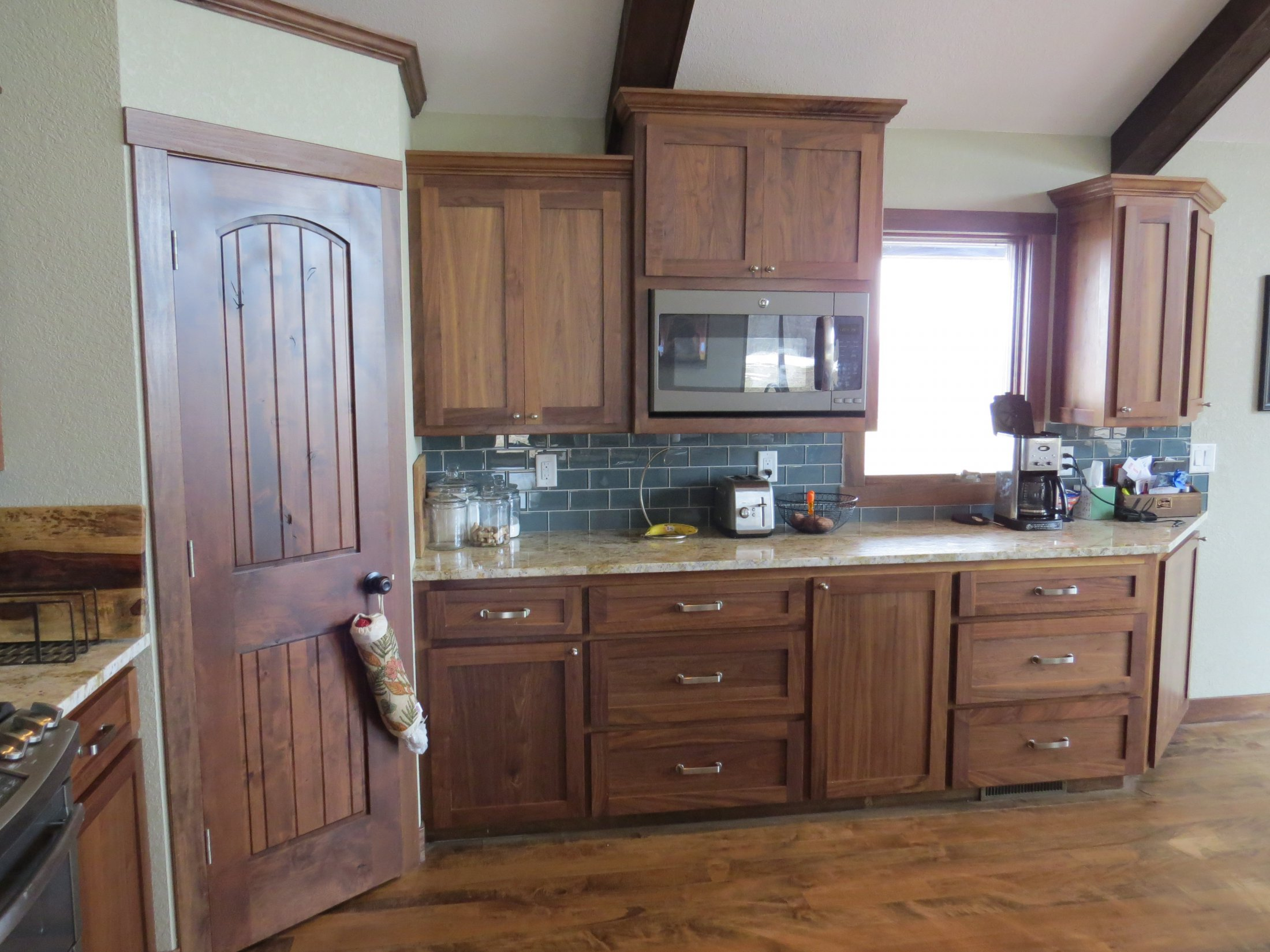 Stained Walnut Kitchen Cabinets