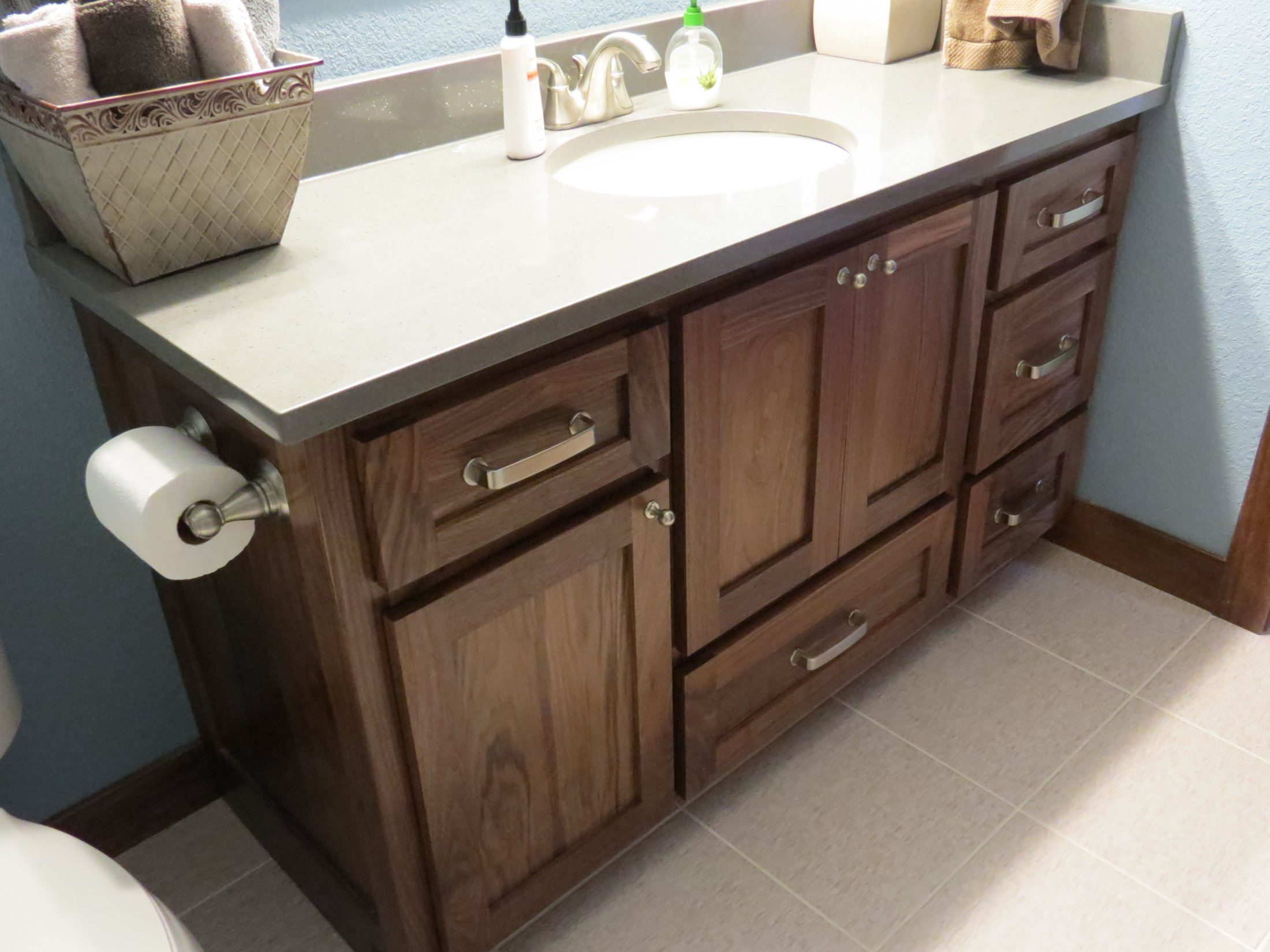 Stained Walnut Bathroom Vanity
