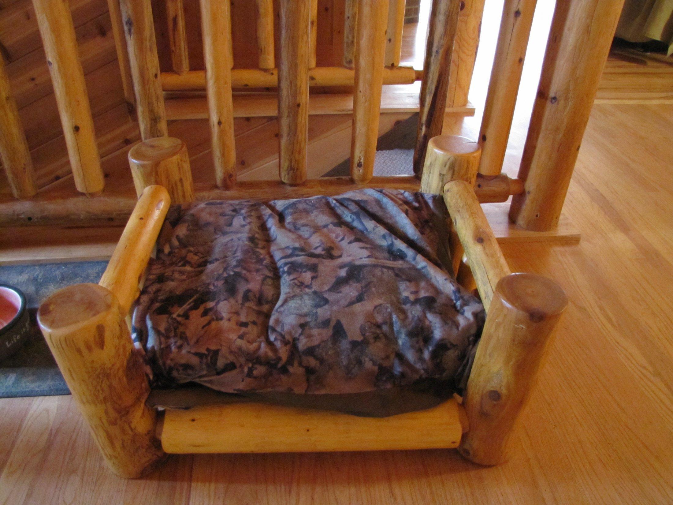 Custom made Cedar Log Dog Bed