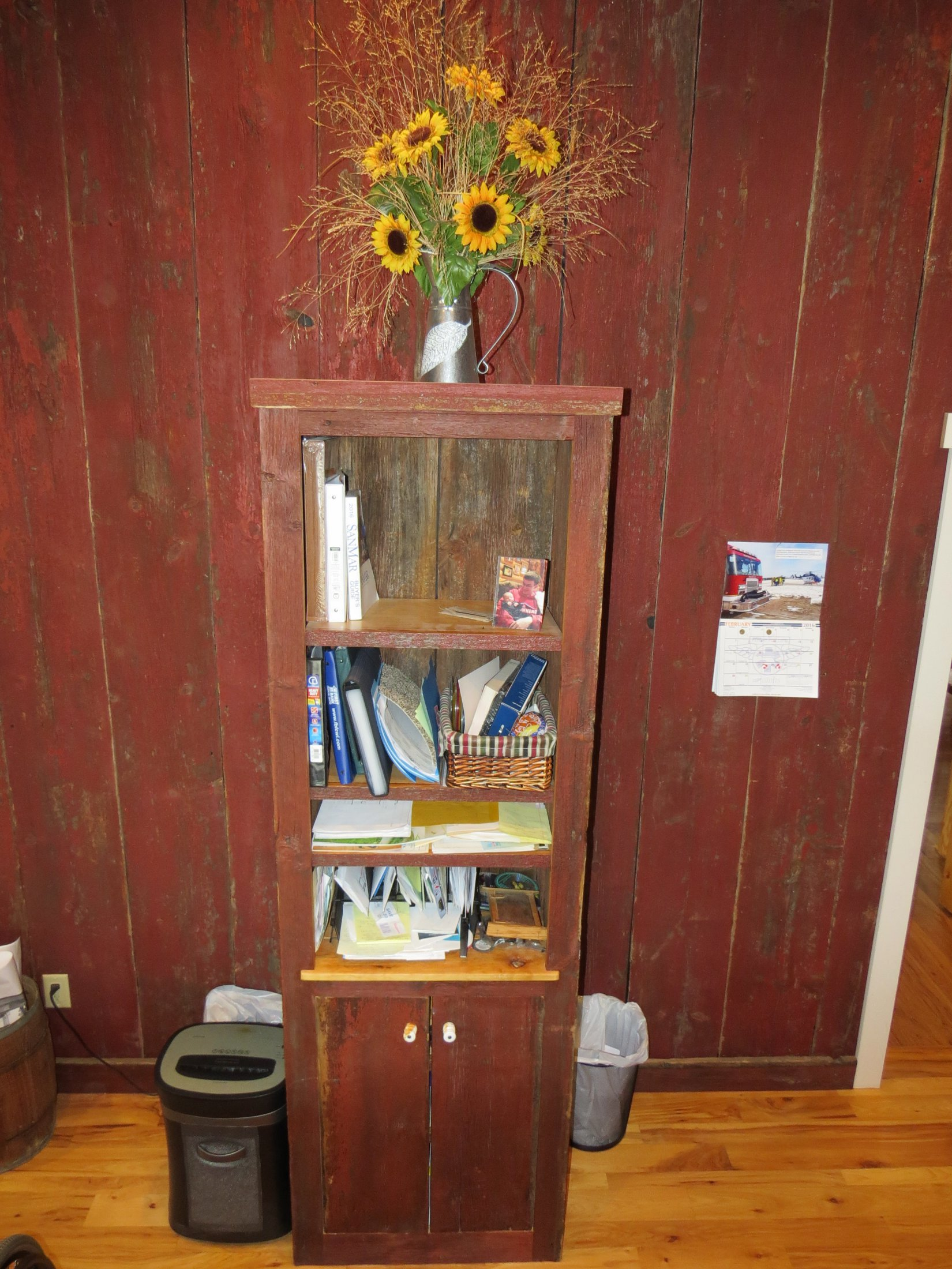 Rustic Barn Board Shelving Storage Unit