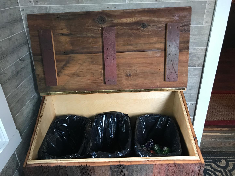 Barn Board Garbage Bin