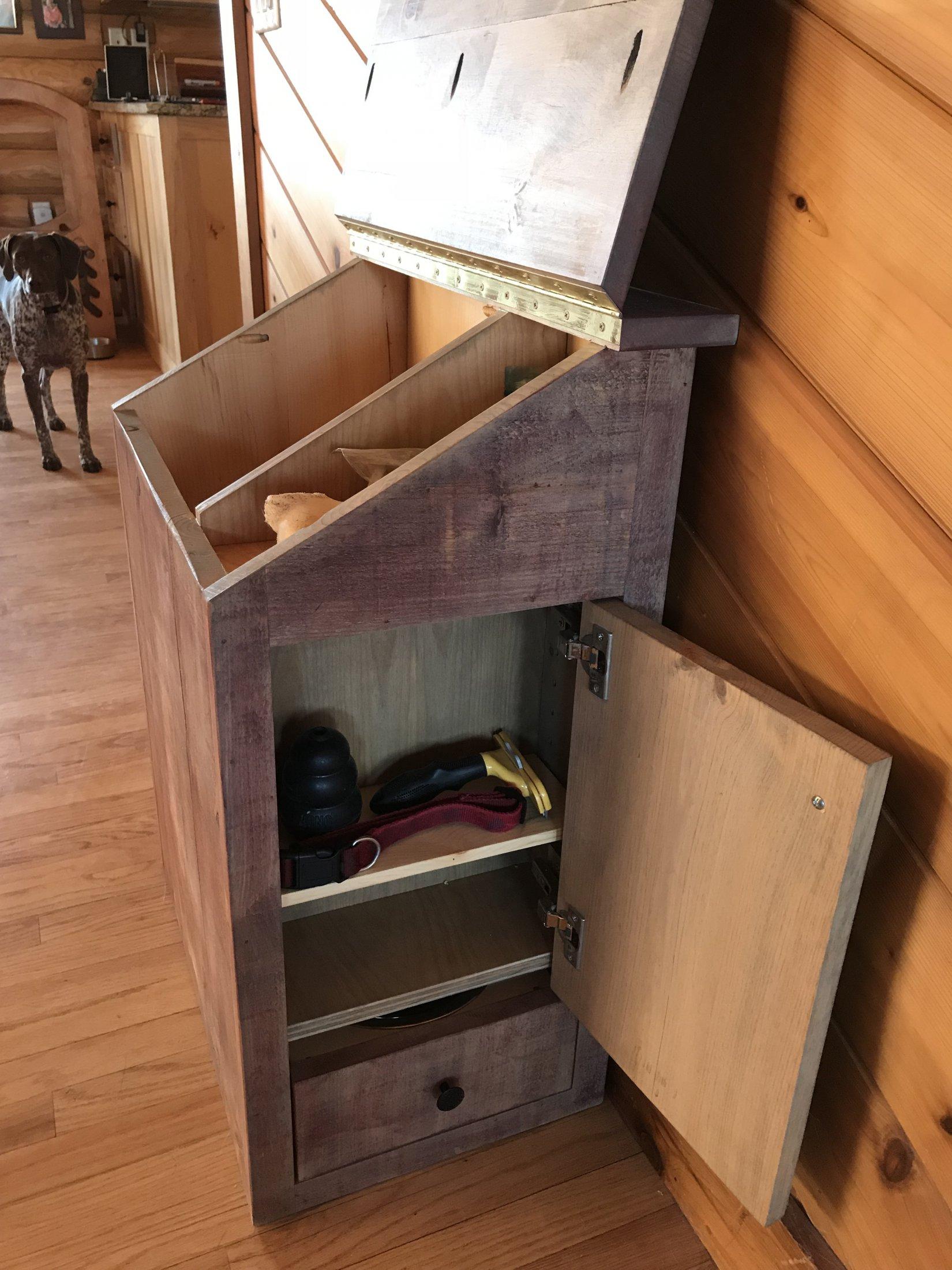 Rustic Barn Wood Pet Storage & Feeder