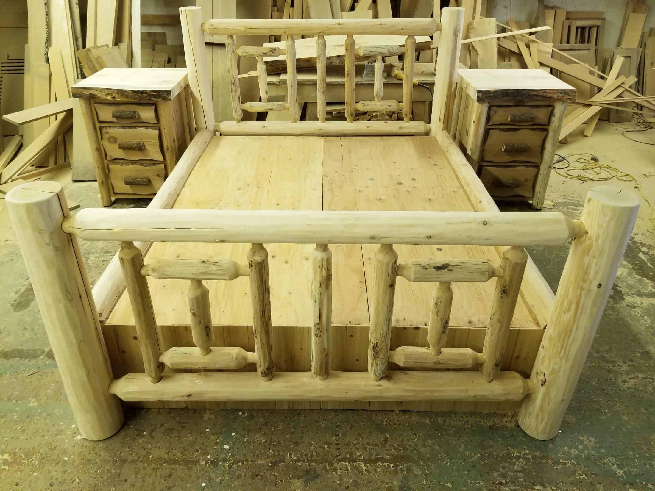 Custom White Cedar Log Bed
