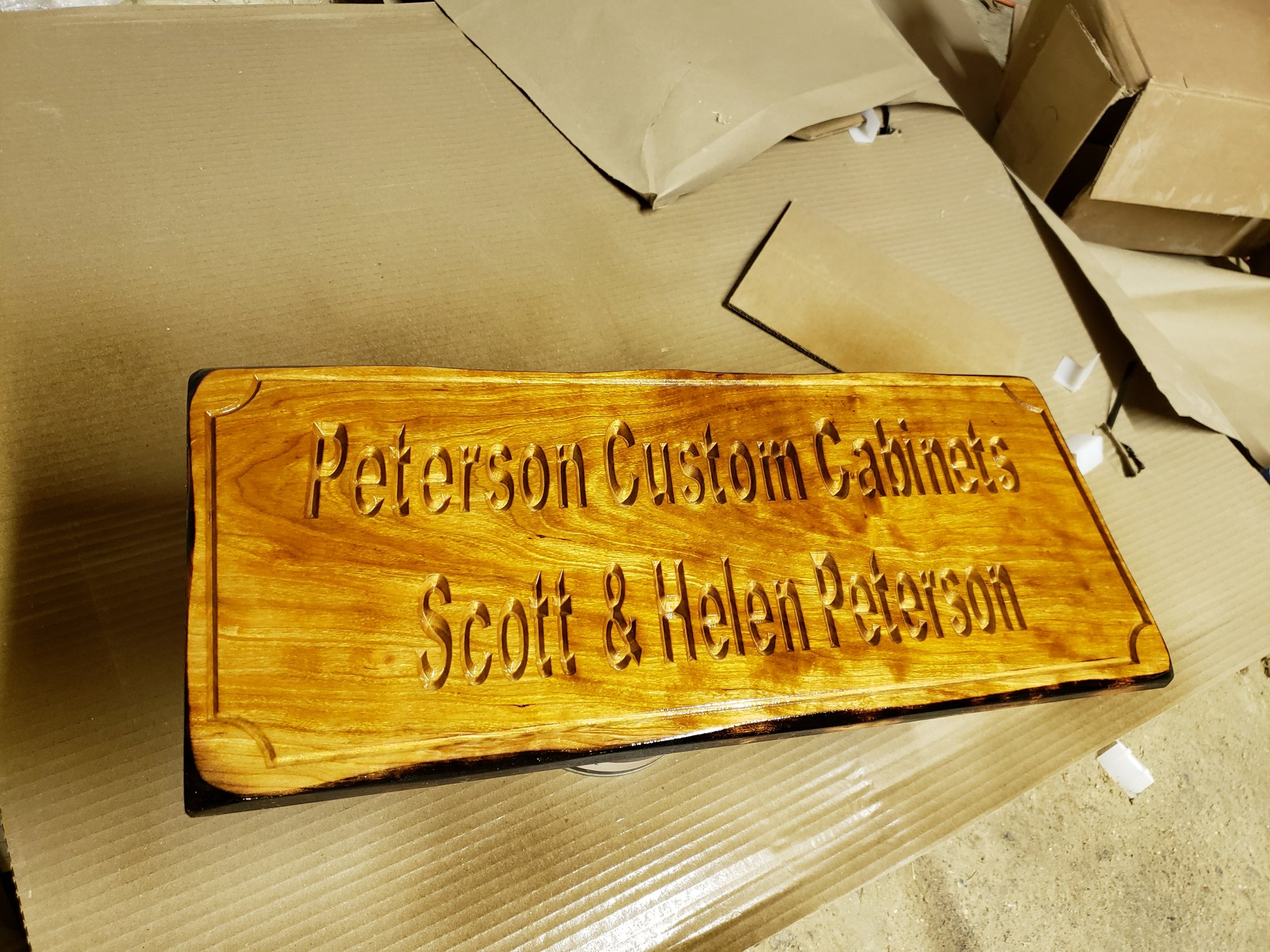 Custom Carved Cherry Sign