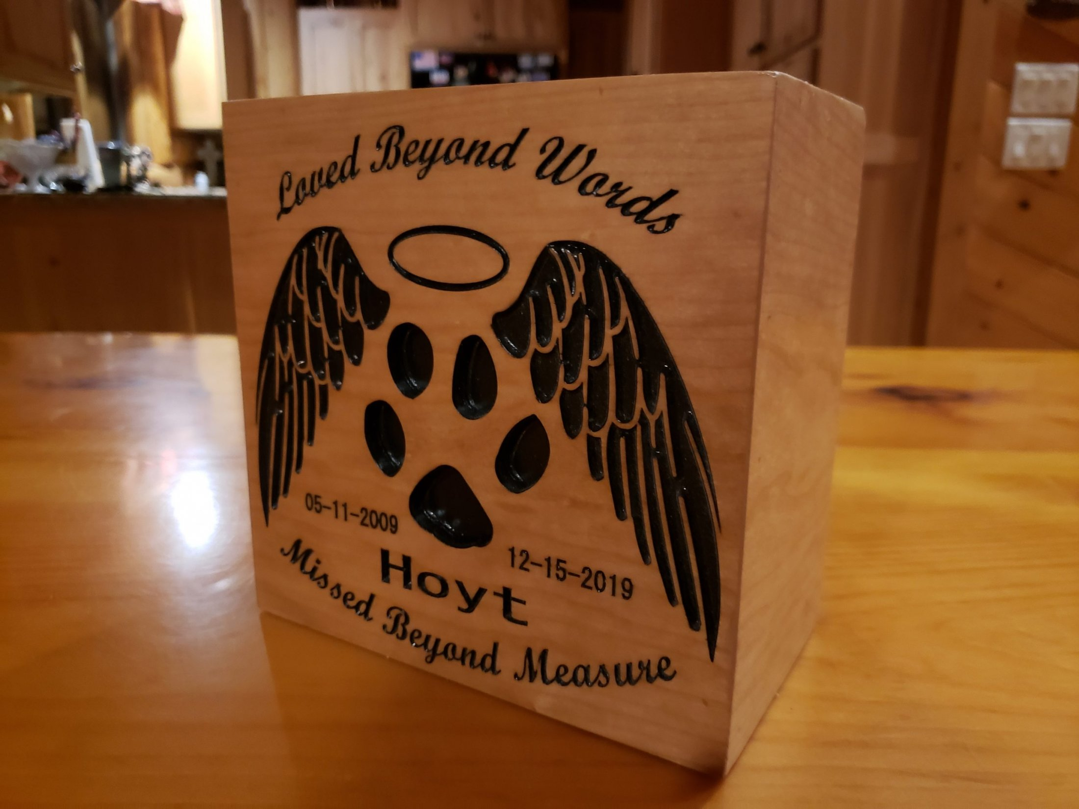 Custom Carved Cherry Dog Urn