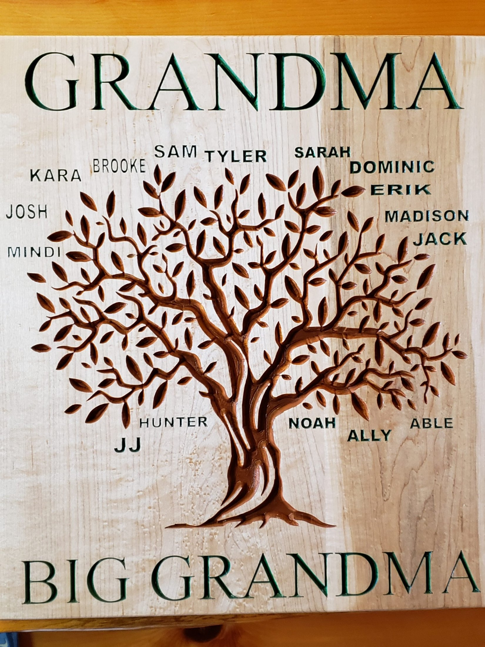 Custom Carved Family Tree