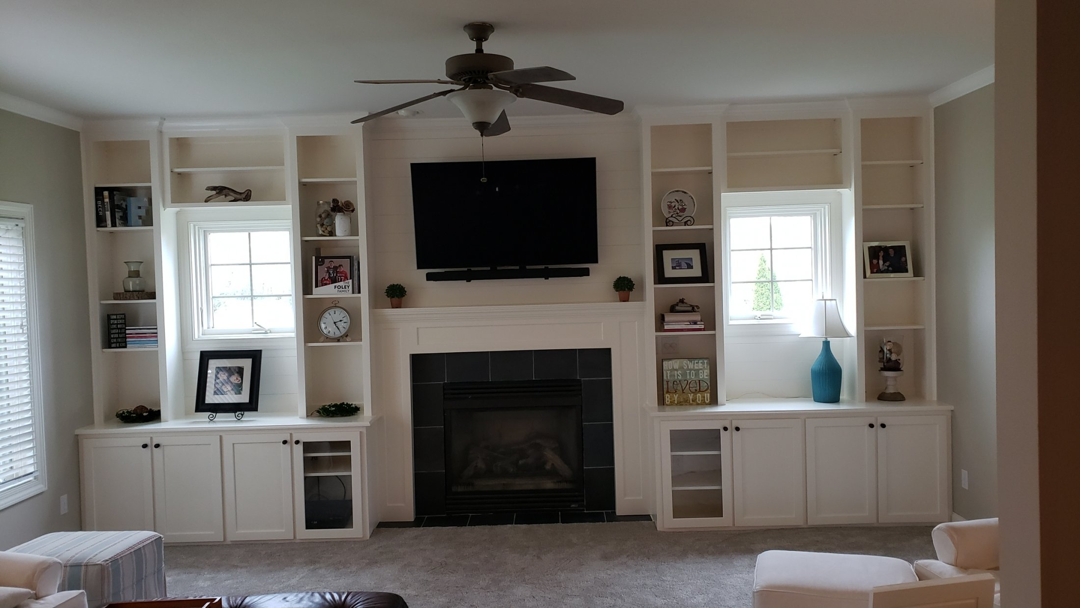 Maple Fireplace Mantle and Paint Grade Maple Bookshelves