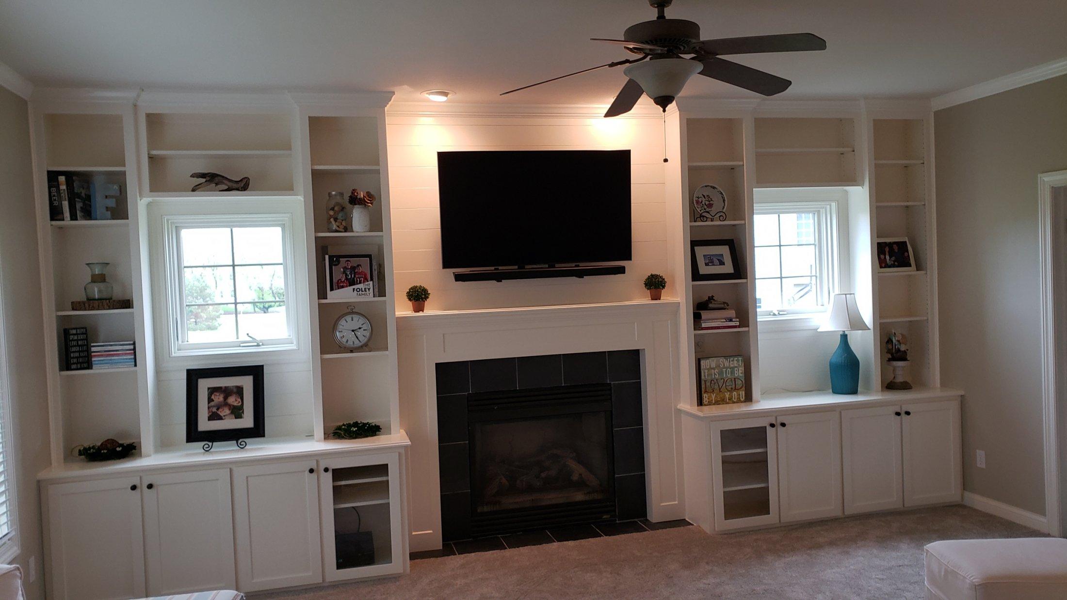Paint Grade Maple Mantle and Bookshelves