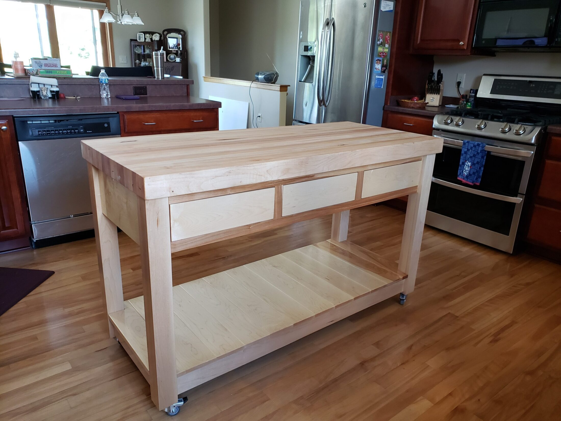 Custom made Maple Butcher Block Island