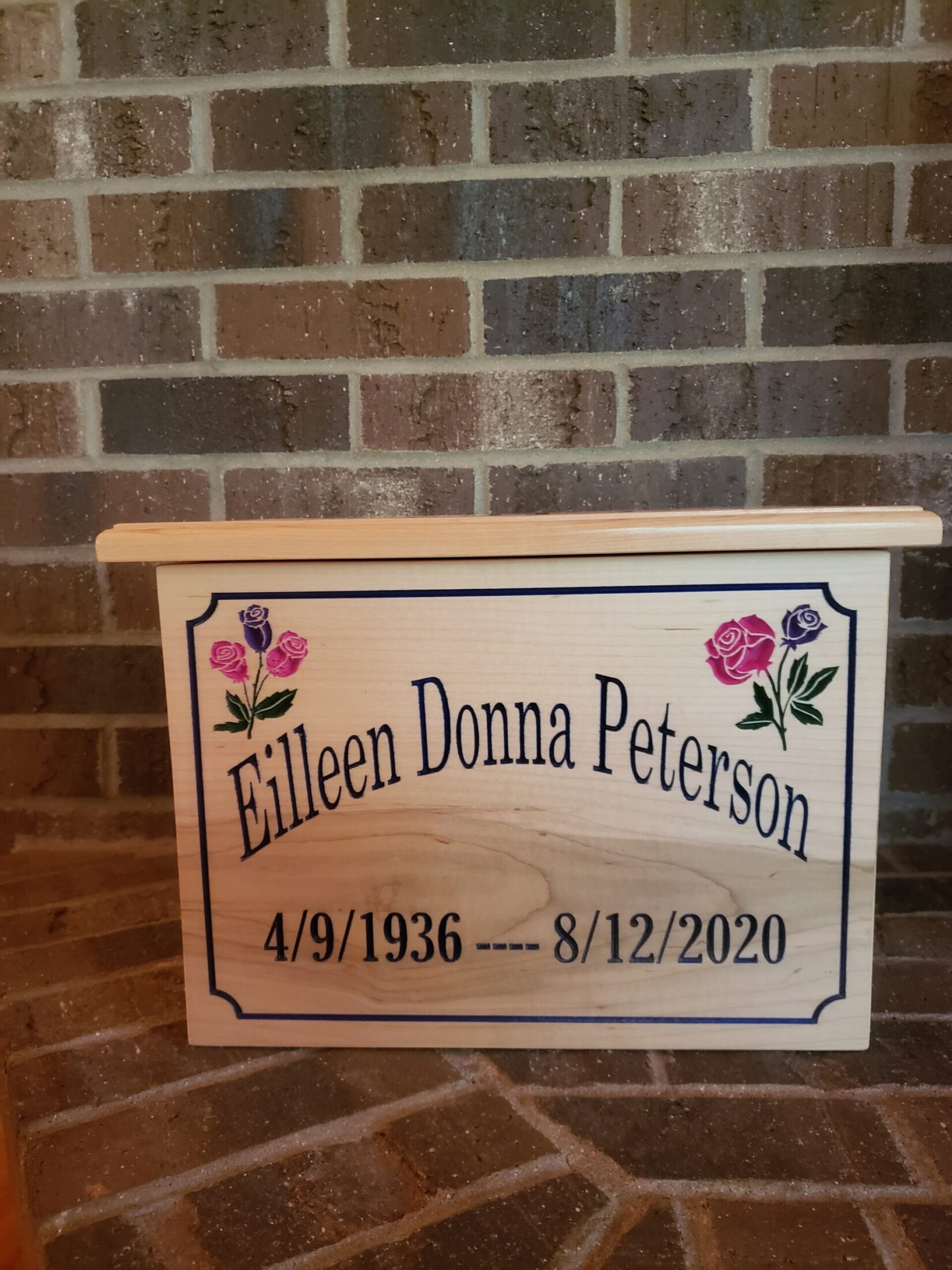 Custom Maple Box for Cremated Remains Carved and Painted