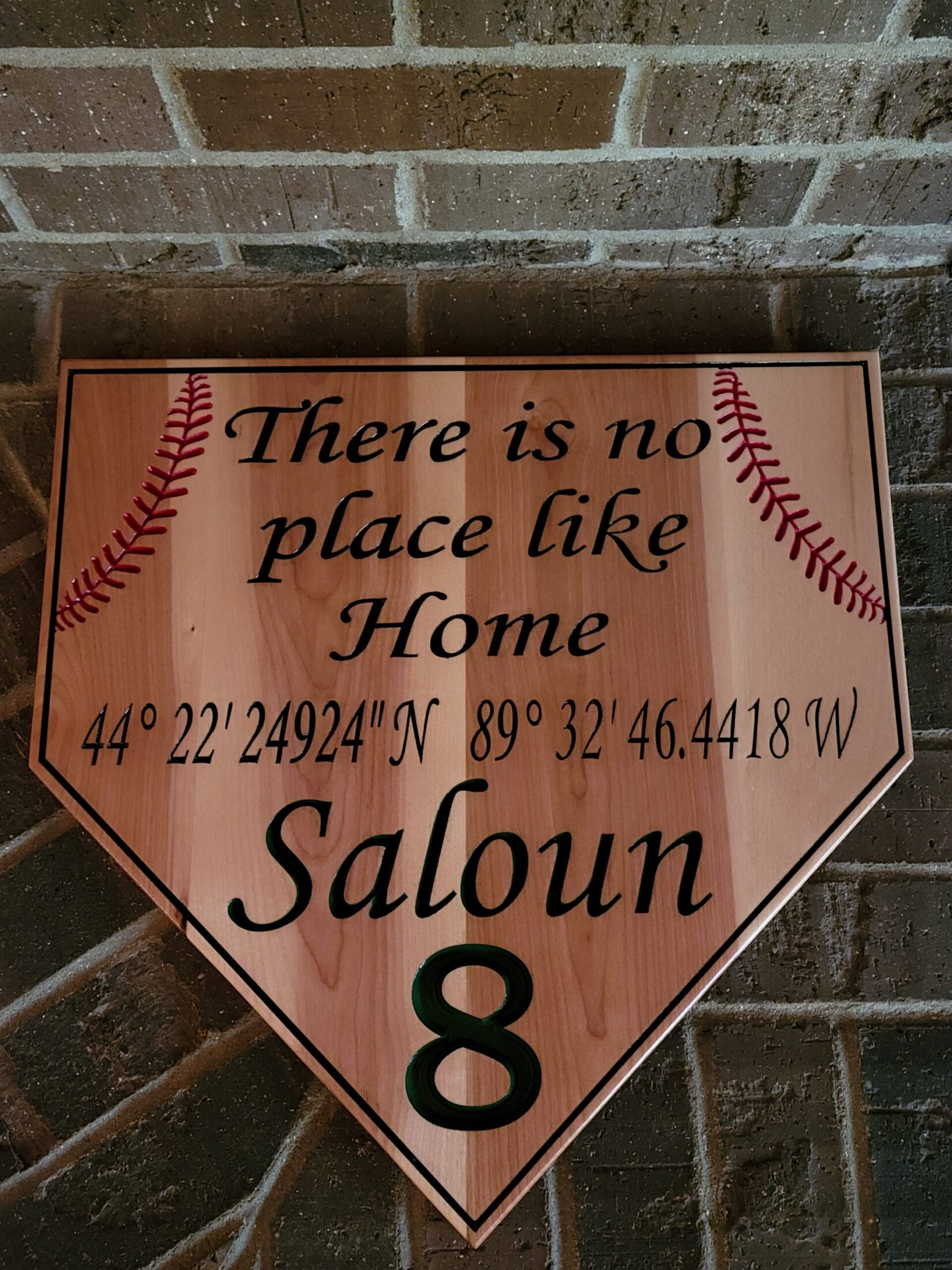 Custom Designed Home Plate Maple Carving