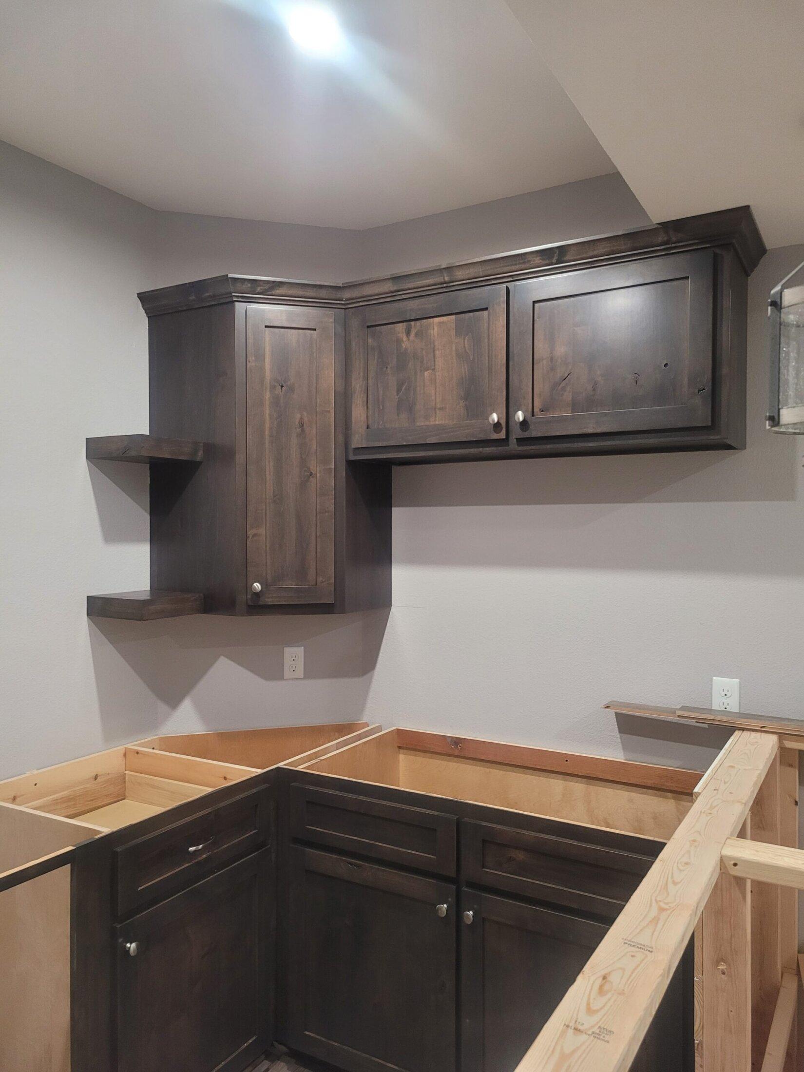 Knotty Alder- Back Bar Cabinets Custom Built