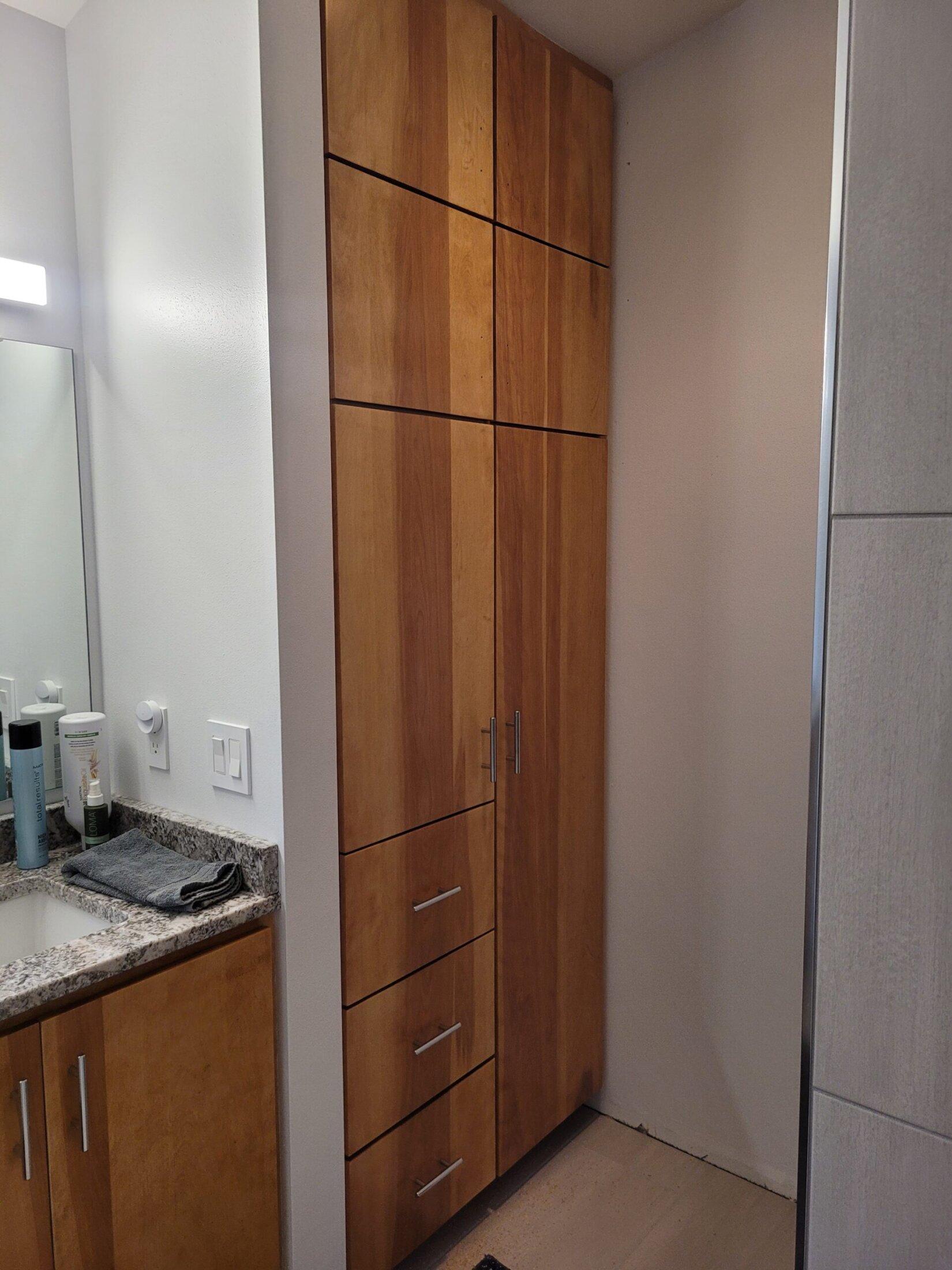 Custom Built Birch Bathroom Cabinet