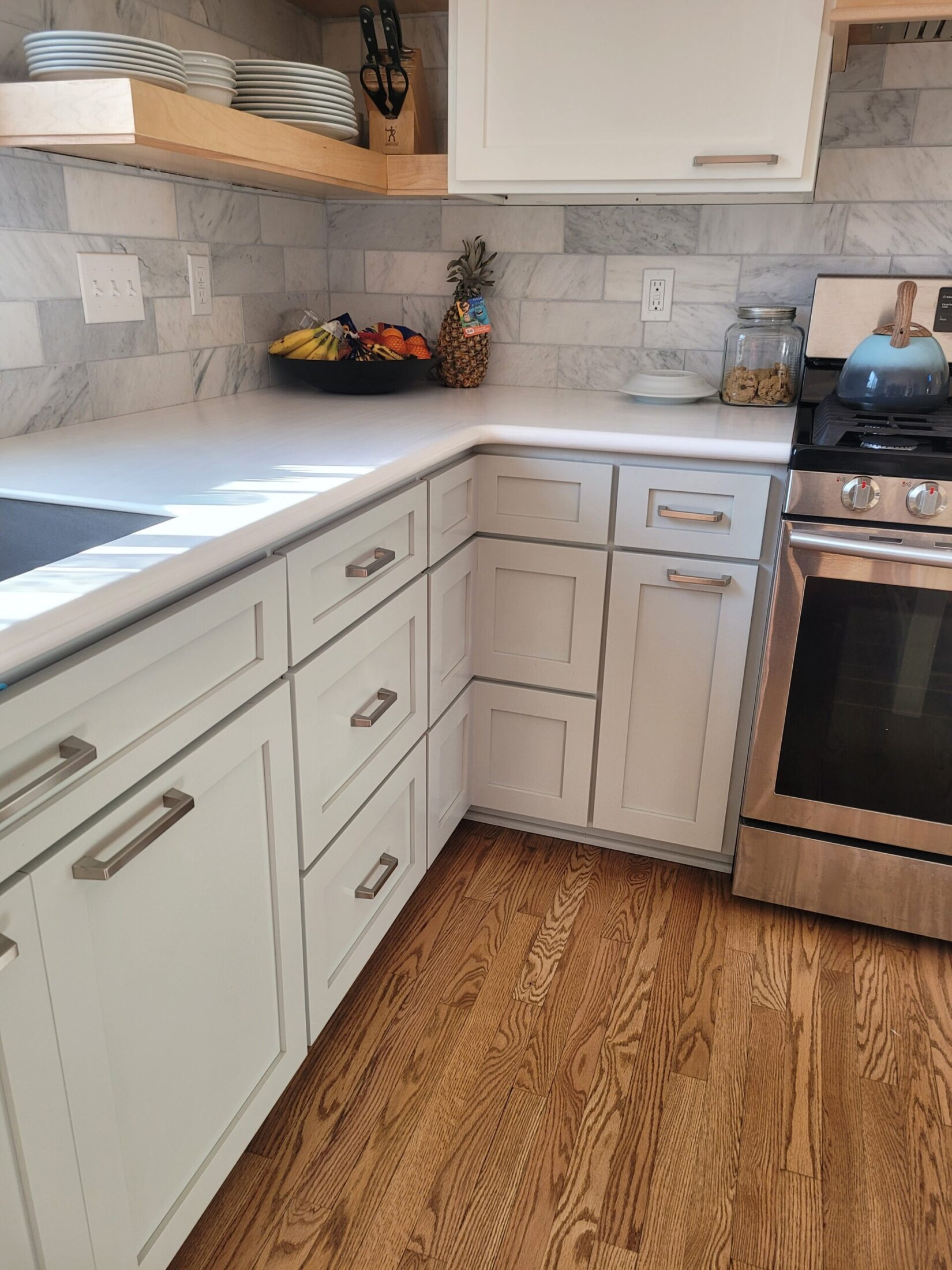 Custom Maple Cabinets with Pull out Corner Drawers