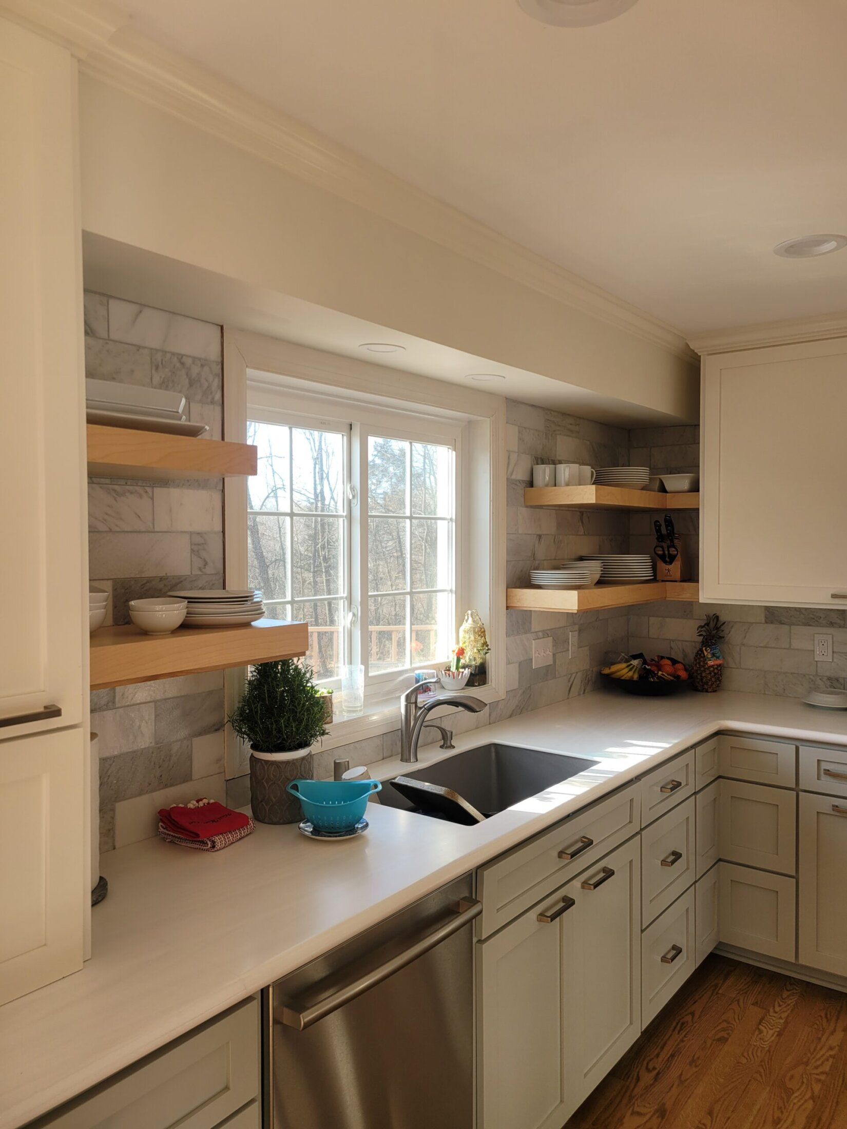 Custom Maple Open Shelves and Cabinets