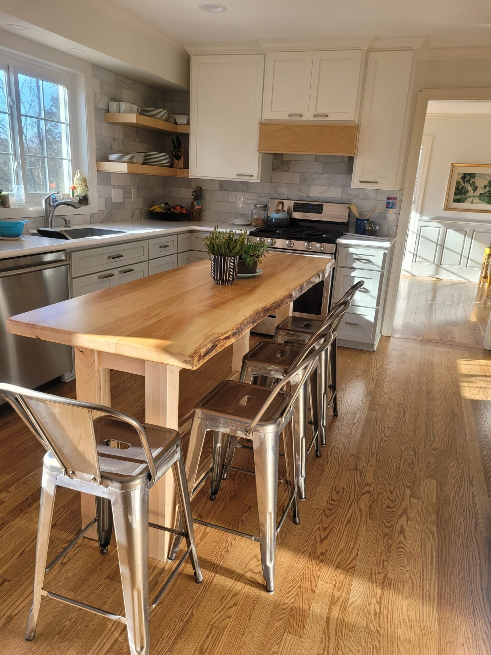 Custom Maple Cabinets and Maple Island with Live Edge Top