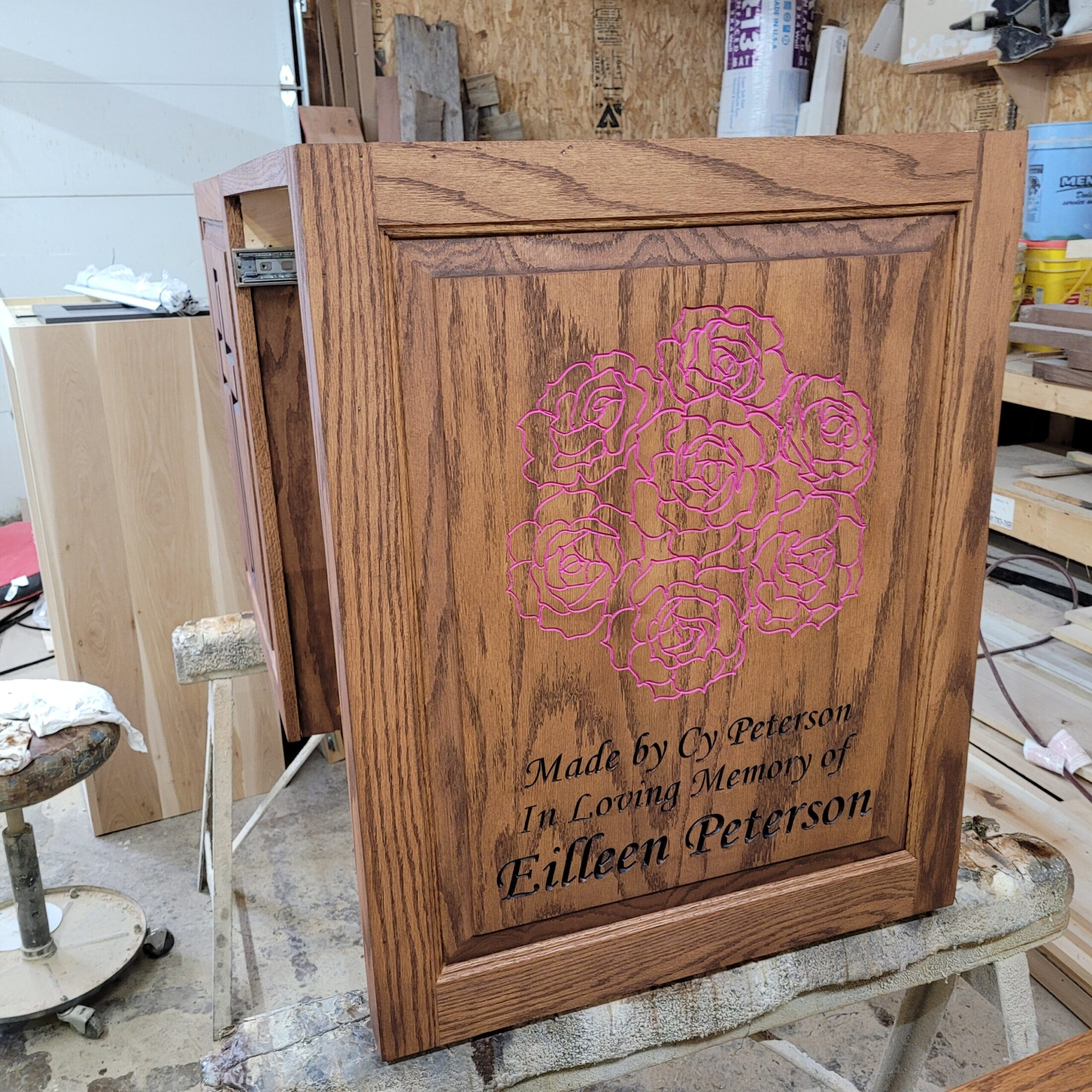 Custom Carved Memorial for my Mom on a cabinet door