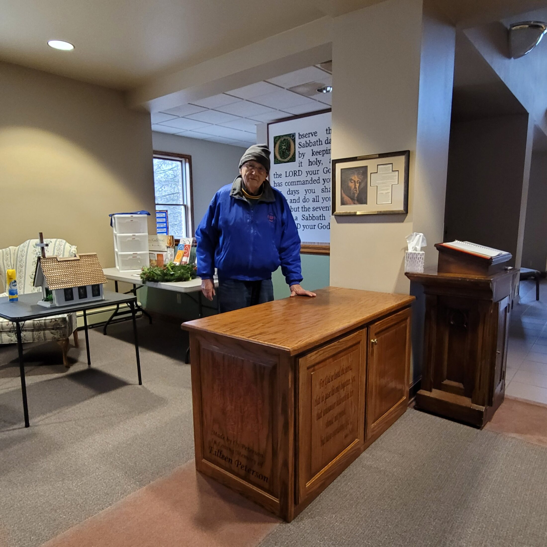 Oak Desk/Cabinet my Dad, Cy made in Memory of my Mom for Kettle Moraine United Presbyterian Church