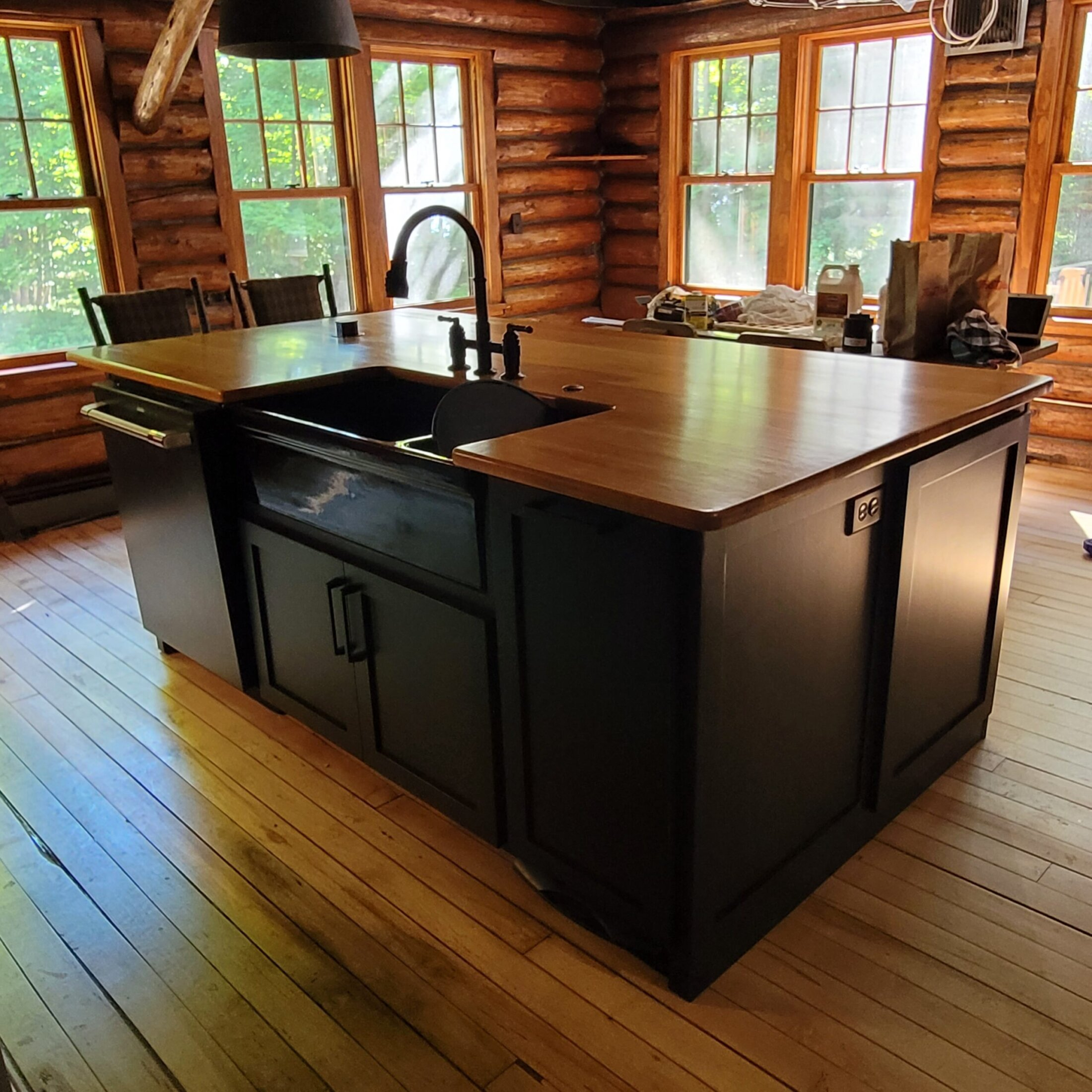 Custom Built Painted Cabinets with Hickory Tops