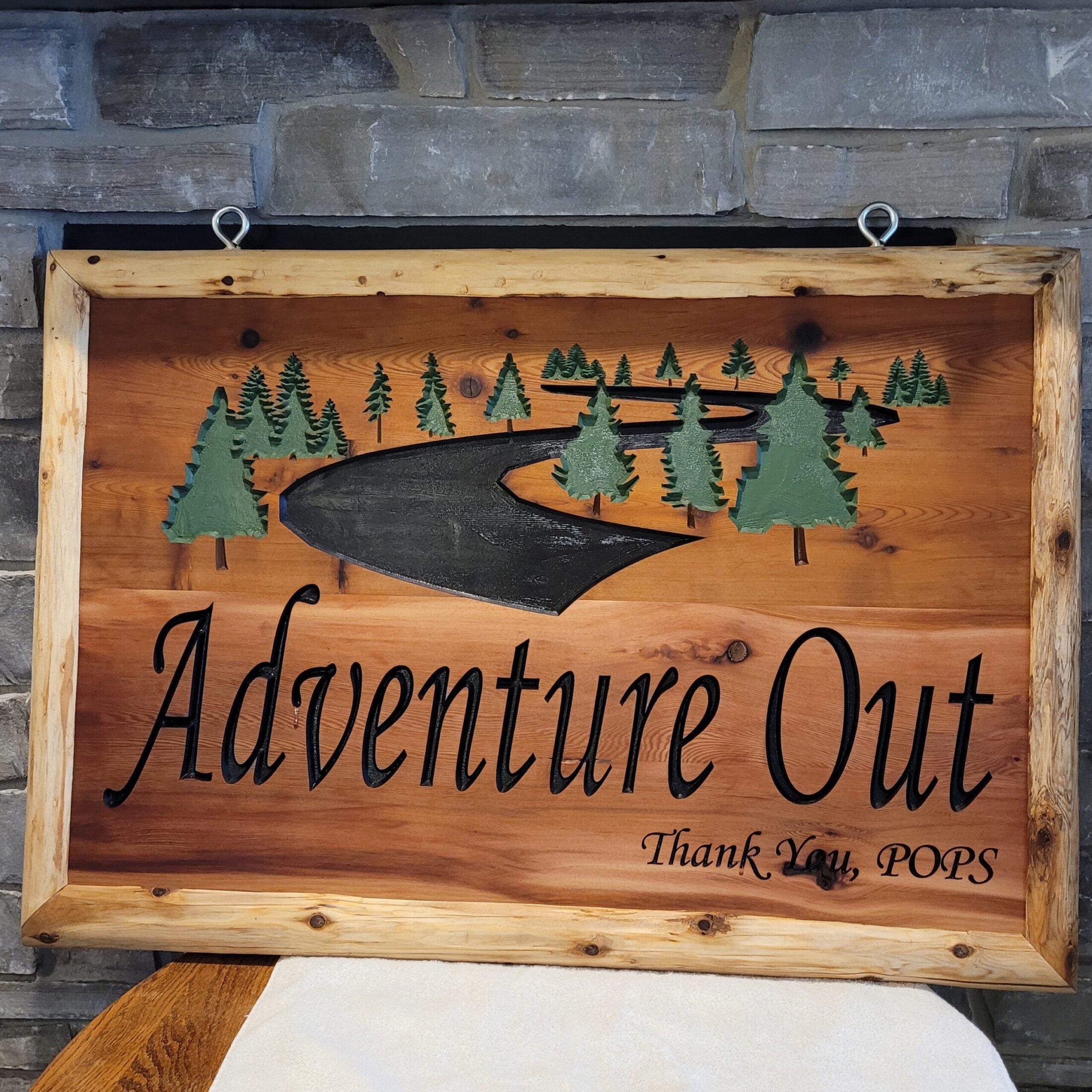 Custom Designed and Carved Cedar 2ft x 4ft Outdoor Sign with Log Frame