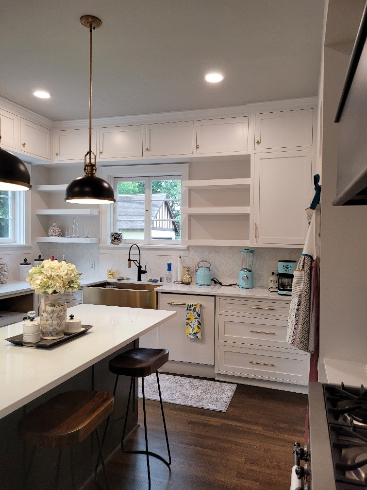 Custom Painted Cabinets with Floating Shelves and Inset Doors