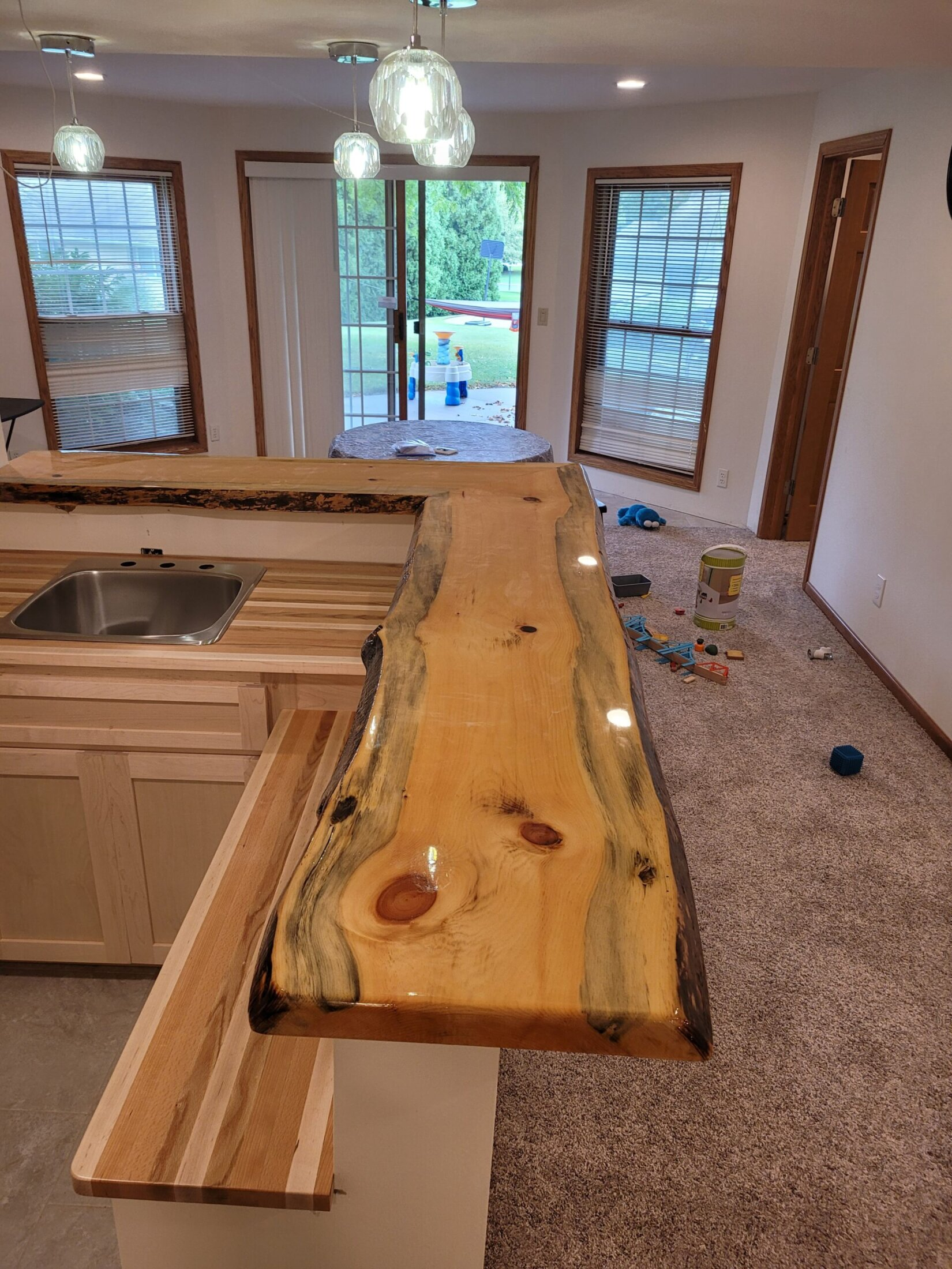 Live Edge Pine Counter Top with Custom made Butcher Block Counter Tops