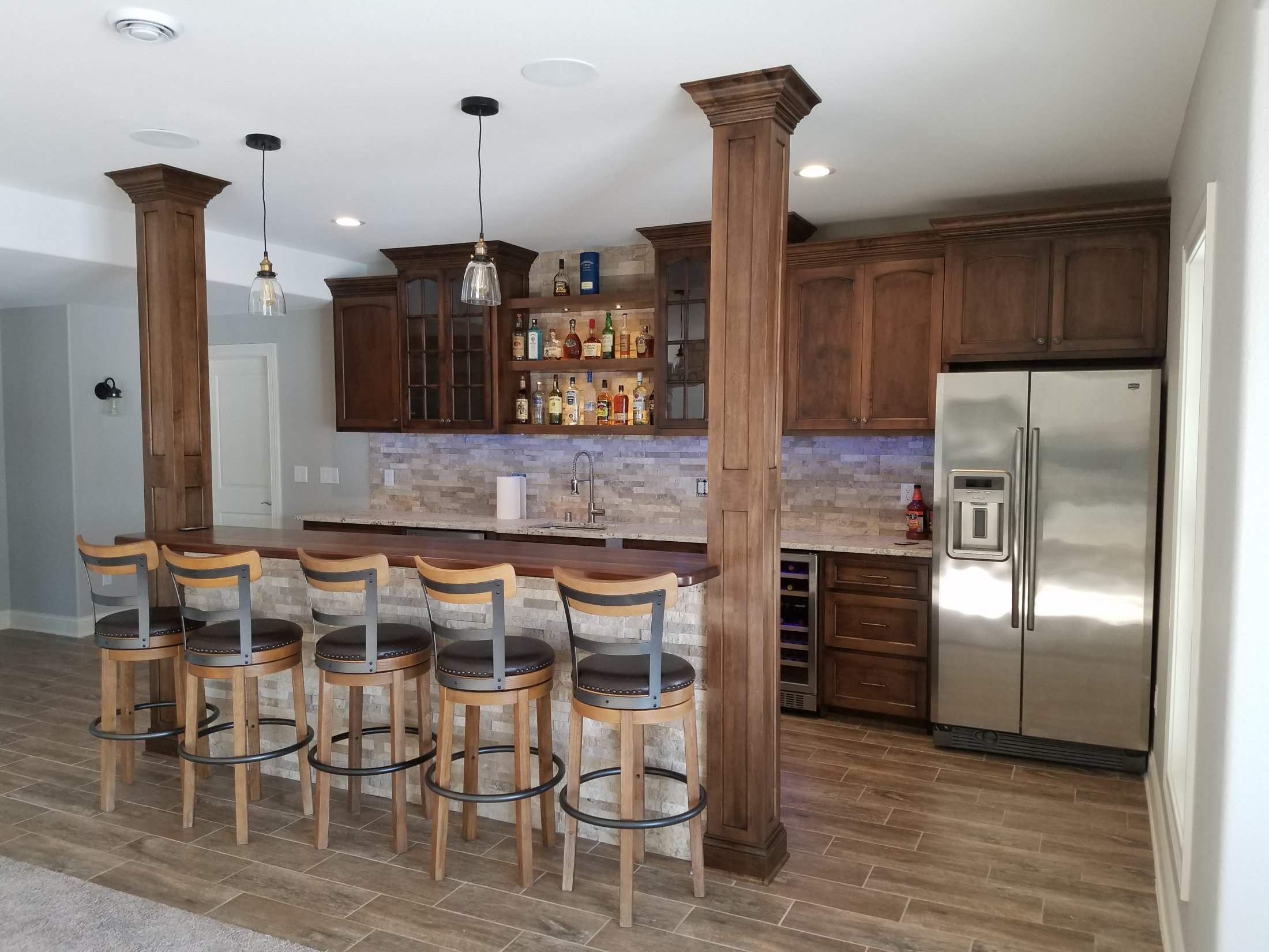 Maple Bar Cabinets with Custom Built Columns