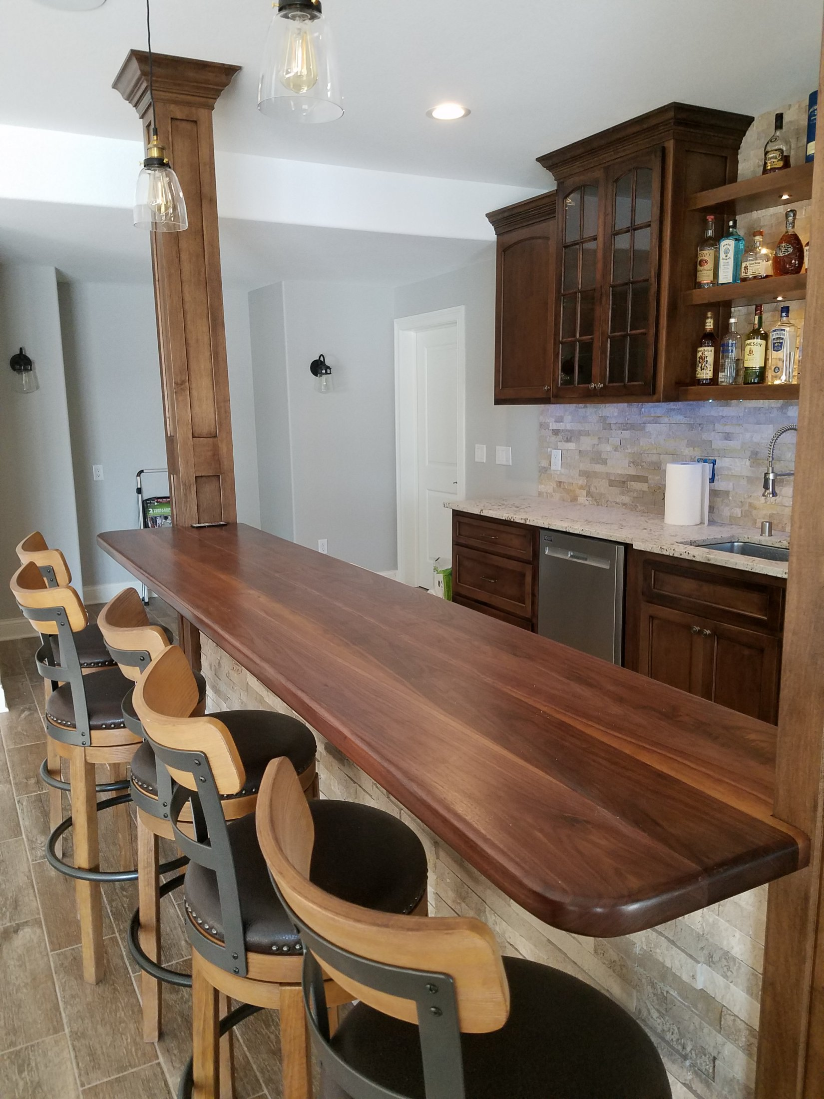 Custom Built Walnut Bar Top with Satin Finish