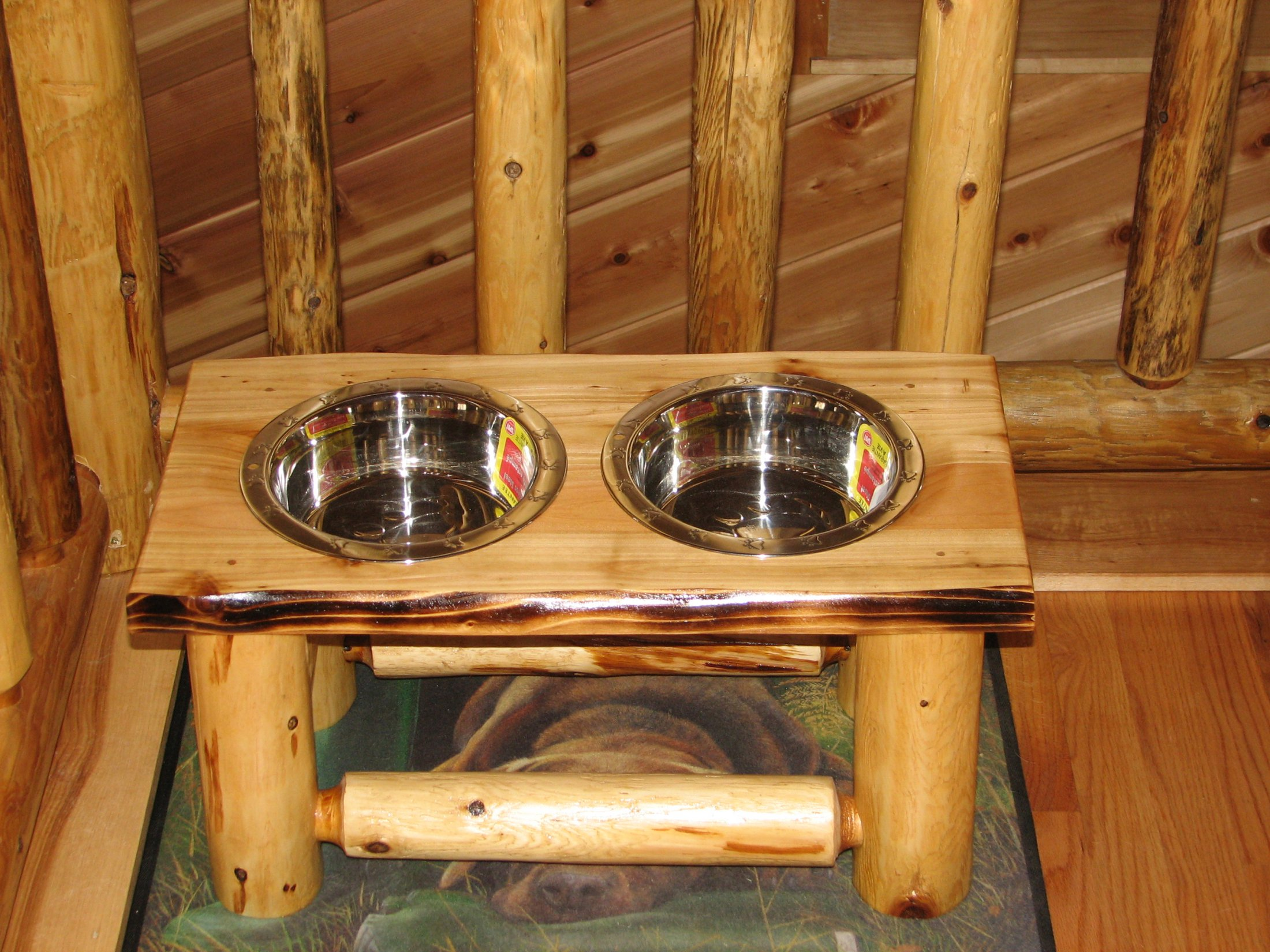 Custom made Cedar Dog Feeder
