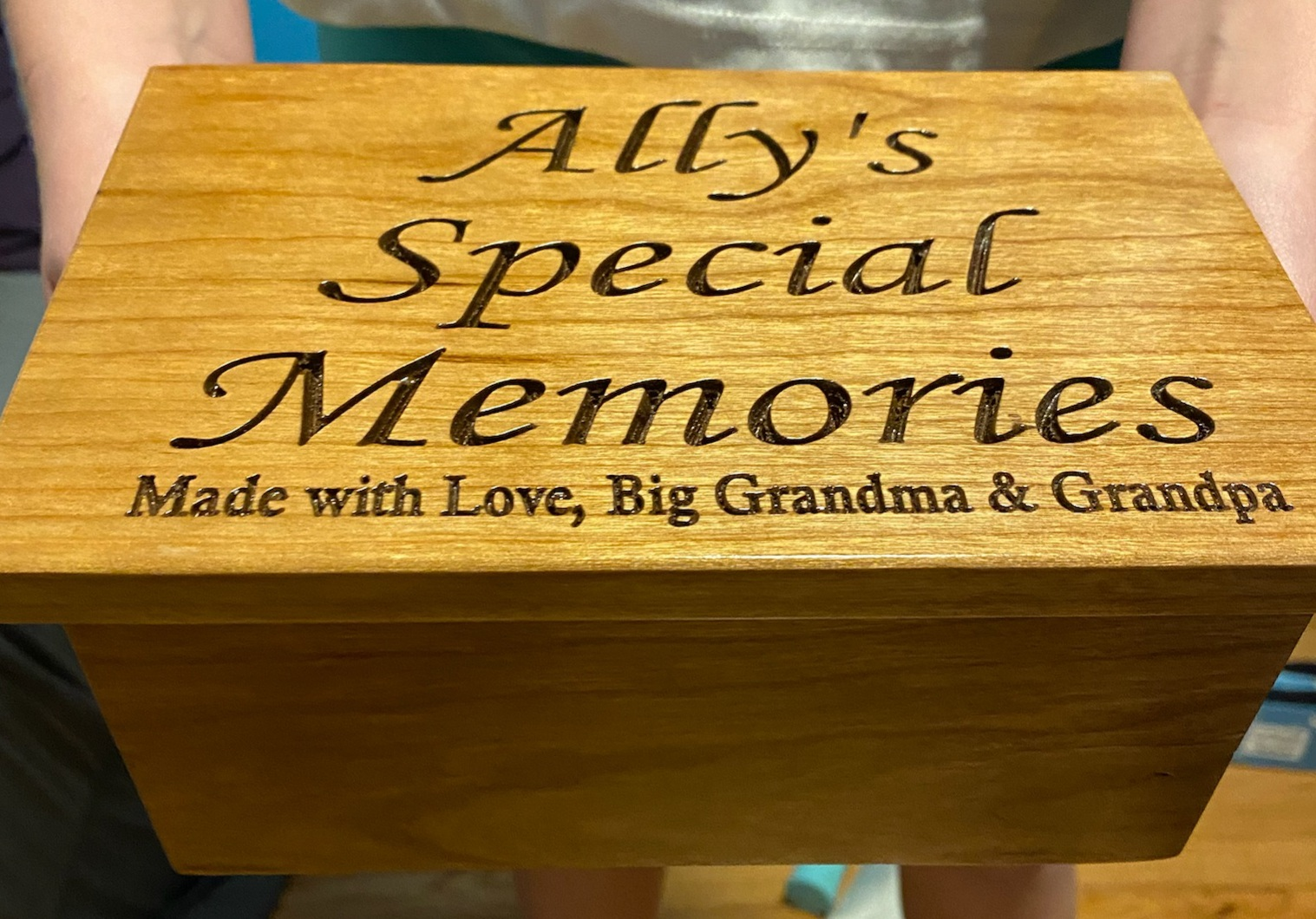 Custom Carved Oak Memory Box