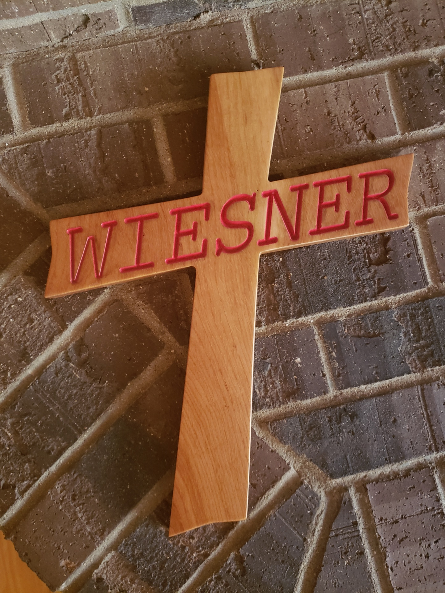 Custom Made Oak Cross Carved and Painted