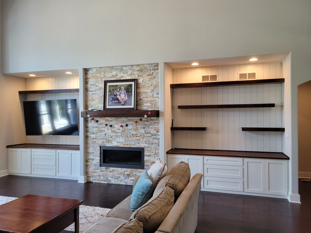 Custom Built Maple Cabinets with Floating Shelves and Stained Top