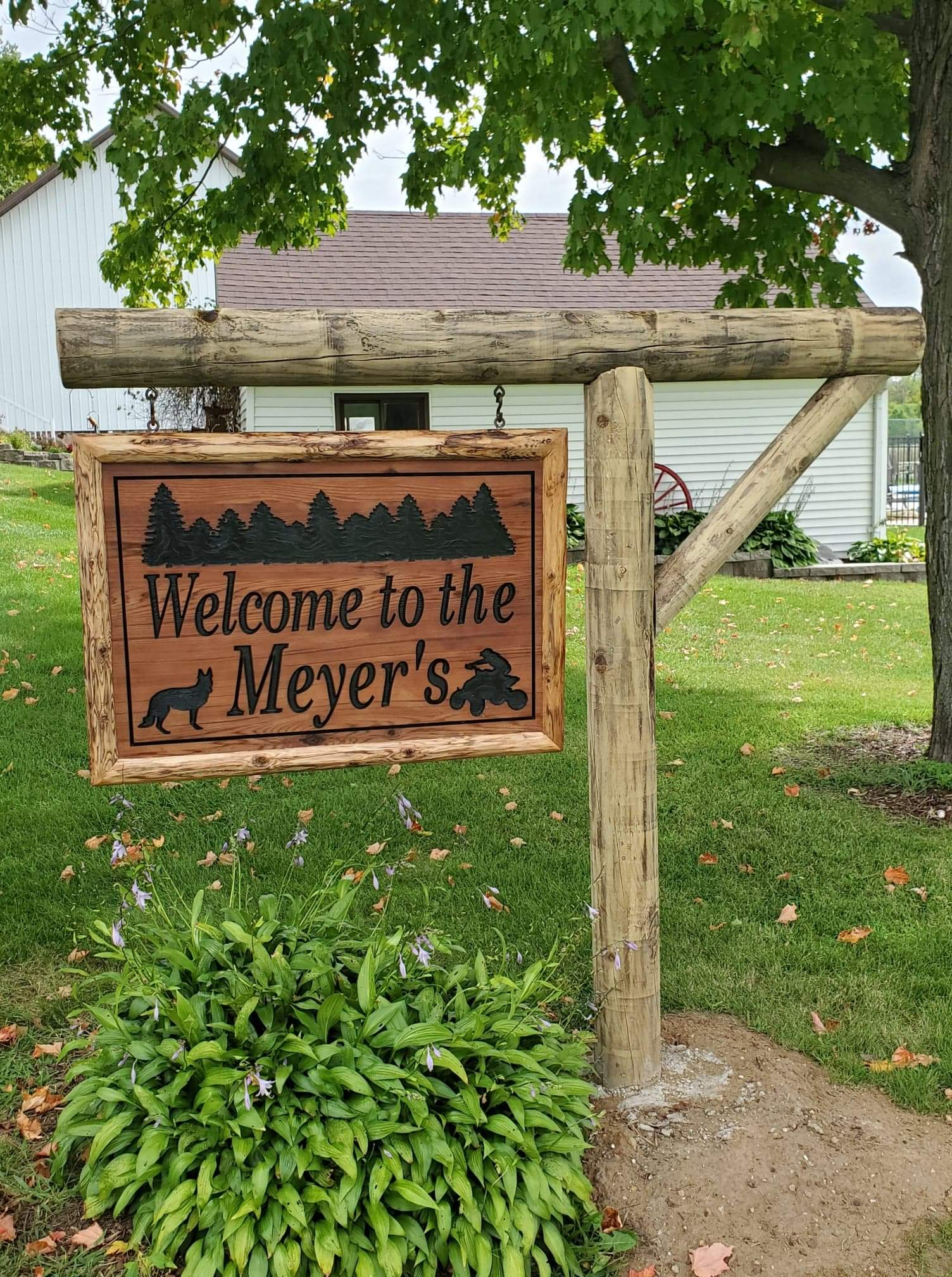 Custom Carved and Painted Cedar Sign, along with Treated Cedar Posts