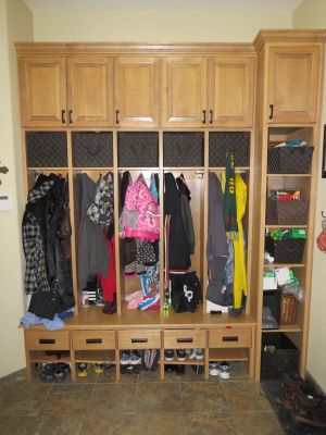 Stained maple Lockers with Shelving