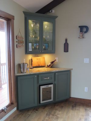Painted Maple-Corner Bar Cabinet