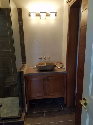 Custom built Cherry vanity with Inset Doors
