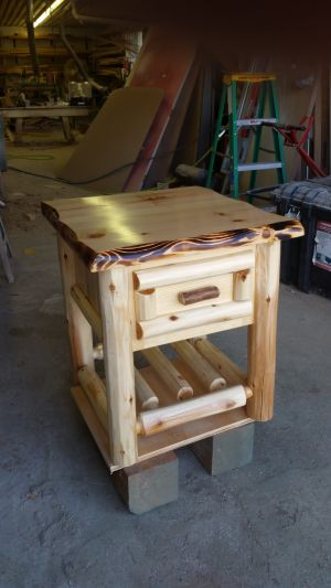 Custom made Log Nightstand