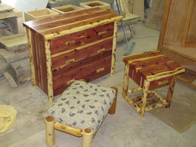 Custom Made Cedar Dresser, Stool, and Nightstand