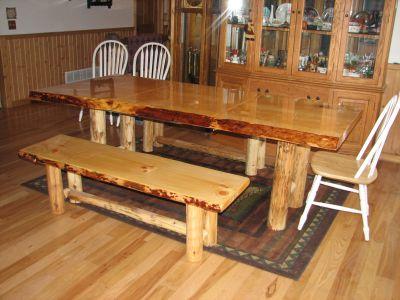 Custom Made Pine Log Table