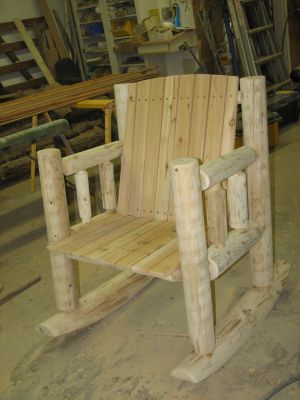Custom Made Log Rocking Chair