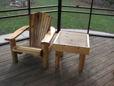 Custom Made Adirondack Chair and Table