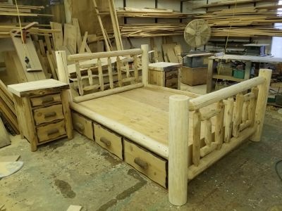 Custom White Cedar Queen Log Bed