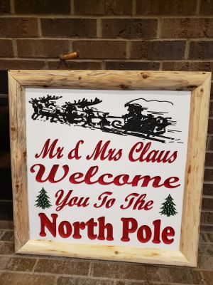 Custom Carved Painted Sign Board with Cedar Log Side