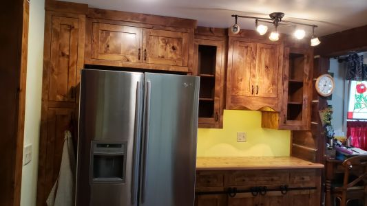 Knotty Adler Custom Built Cabinets