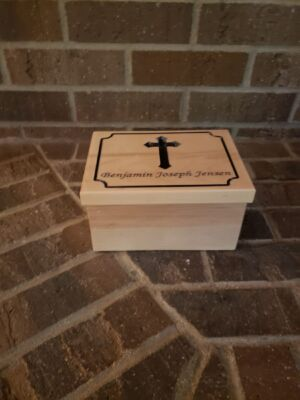 Custom Maple First Communion Box Carved and Painted