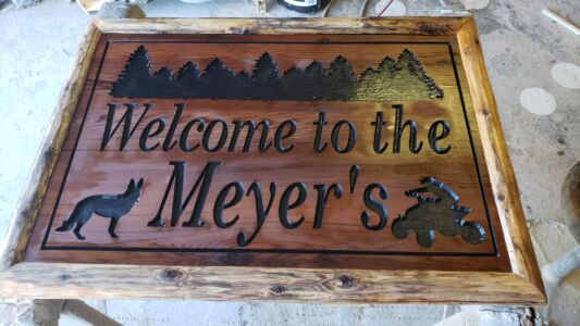 Custom Cedar Carved Farm Sign