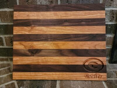Custom Cherry and Walnut Bread Board with Carving