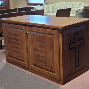 Custom built desk my Dad made. I custom carved crosses, and Biblical verses in memory of my Mom