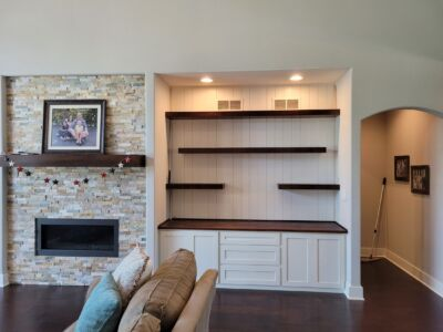 Custom Built Maple Cabinet with Floating Shelves and Stained Top