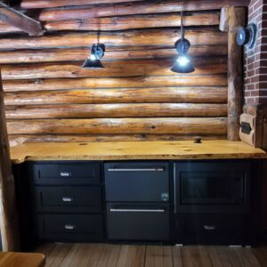 Custom Painted Cabinets with Hickory Tops